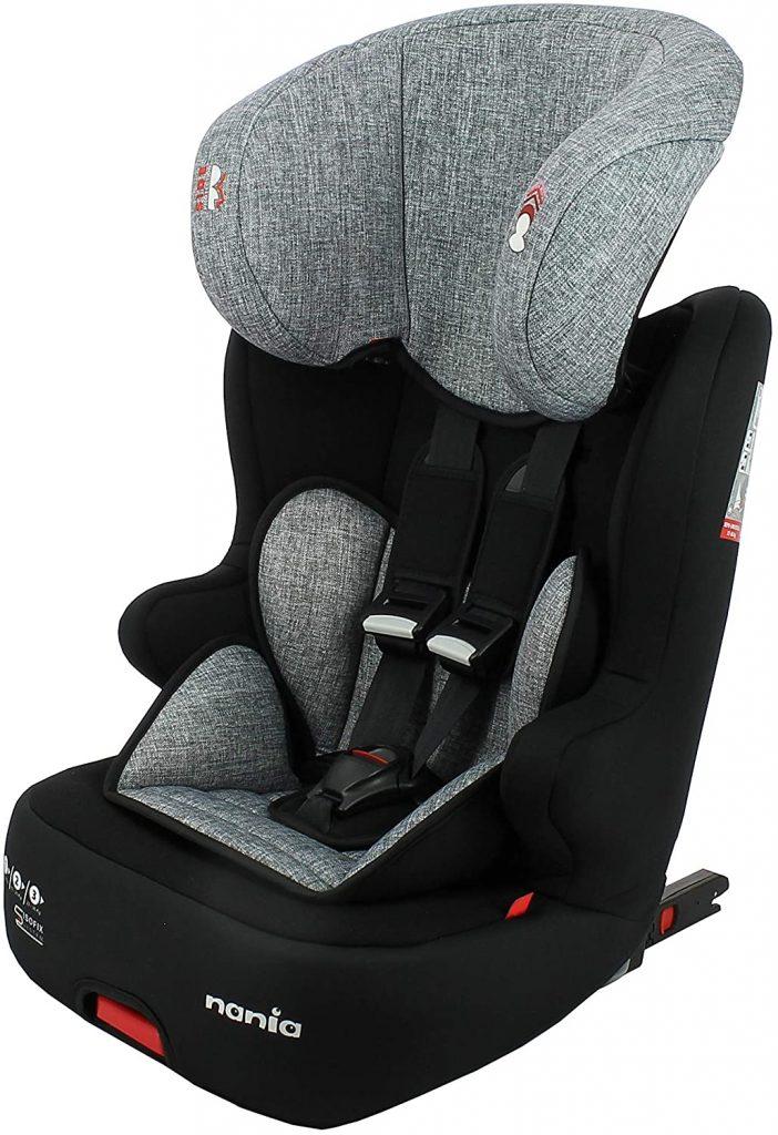 Le siège auto Nania Racer Isofix convient dès 9 kilos.