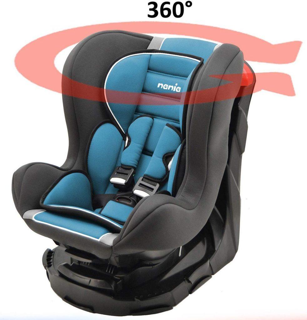 Le siège auto Nania Revo pivote à 360 degrés.