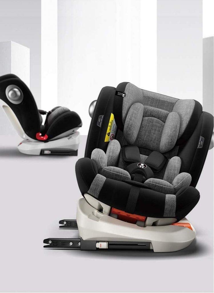 Le siège auto isofix pivotant Babify convient de 0 à 36 kilos.
