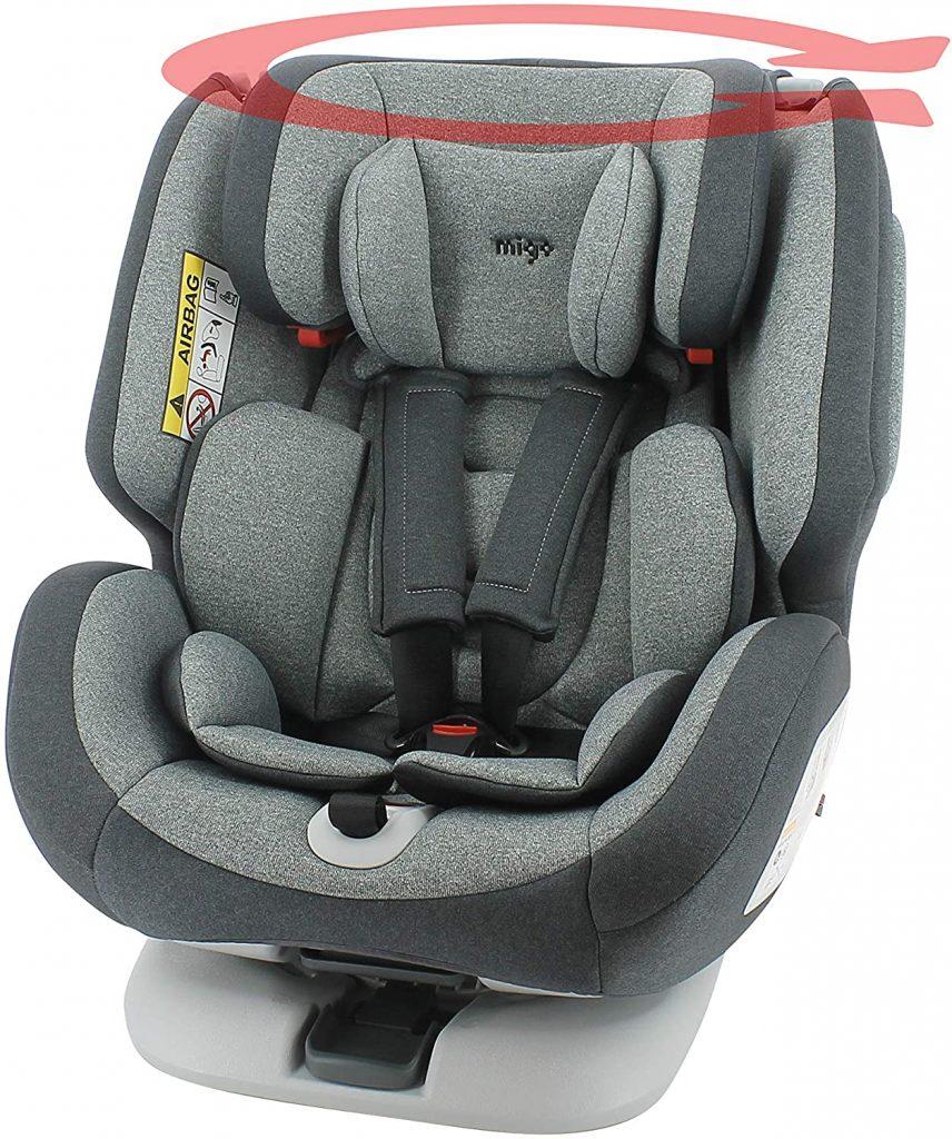 Le siège auto isofix rotatif Migo est évolutif.