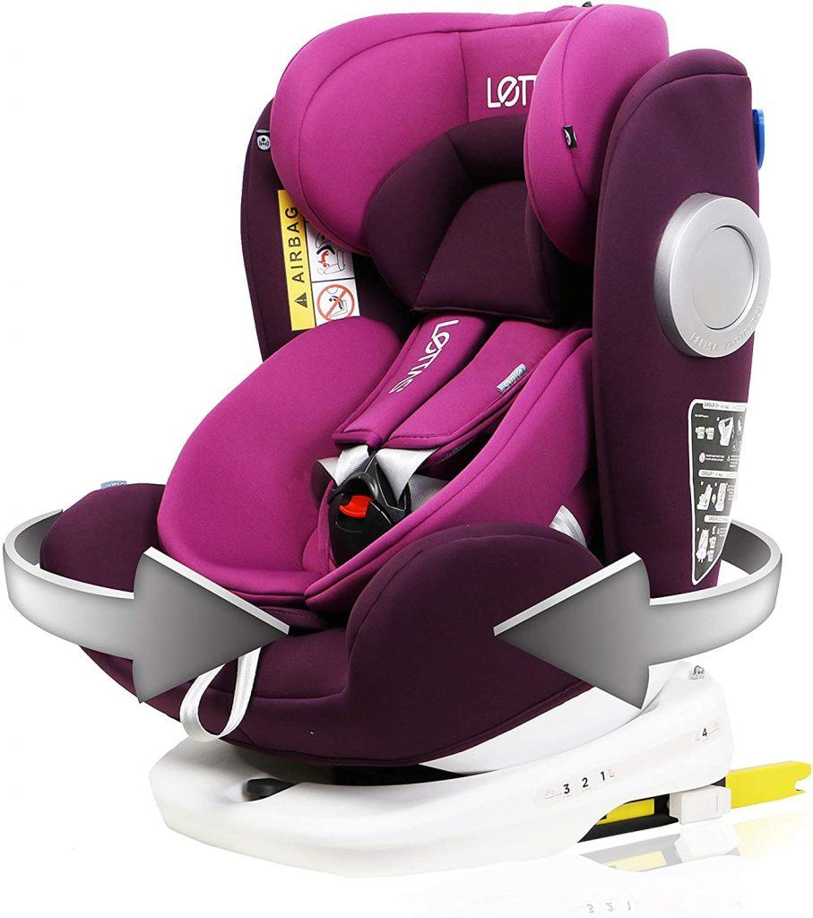 Ce siège auto rotatif Lettas peut s'utiliser de 0 à 36 kilos.